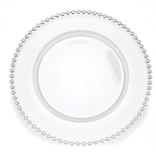 Glass Chargers with Clear Beads