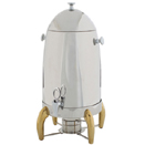 5 GAL. COFFEE URN, STAINLESS W/GOLD ACCENTS