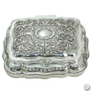 RECTANGULAR JEWELRY BOX, ANTIQUE SILVERPLATE