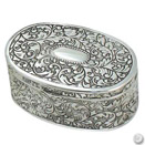 OVAL JEWELRY BOX, ANTIQUE SILVERPLATE