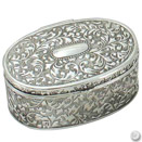 OVAL JEWELRY BOX, ANTIQUE SILVERPLATE, 3 1/2