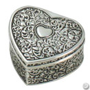 HEART JEWELRY BOX, ANTIQUE SILVERPLATE
