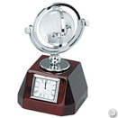 SWIVEL GLOBE & WOOD CLOCK, 7