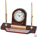 DESK CLOCK W/ 2 PENS, WOOD, 8