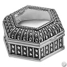 DOT HEXAGON JEWELRY BOX, ANTIQUE SILVERPLATE