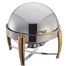 6 QT.ROUND  VIRTUOSO CHAFER, GOLD ACCENTS