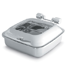 6 QT. SQUARE CHAFER, GLASS COVER, STAINLESS FOOD PAN