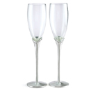 GLASS FLUTES WITH CRYSTALS AND SATIN STEMS