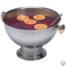 3.5 GALLON STAINLESS PUNCH BOWL W/GOLD ACCENTS
