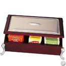 TEA CHEST, WOODEN WITH SILVERPLATED ACCENTS