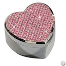 HEART SHAPE JEWELRY BOX W/ PINK RHINESTONE ACCENTS