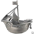 PIRATE SHIP BANK, PEWTERPLATE W/ SATIN FINISH