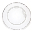 GLASS CHARGER PLATE, CLEAR BEADED EDGE DESIGN, SET/4