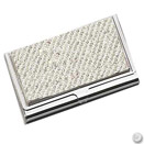 BUSINESS CARD HOLDER W/ CLEAR FAUX DIAMOND, SILVERPLATE