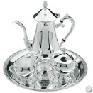 4-PIECE COFFEE SET W/ ROUND TRAY, SILVERPLATE