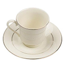 CHARLESTON IVORY GOLD CHINA - CHARLESTON IVORY GOLD RIM FOOTED SAUCER, 5 3/4