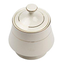 CHARLESTON IVORY GOLD CHINA - CHARLESTON IVORY GOLD RIM SUGAR BOWL & COVER, CASE/3 DOZ.