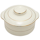 CHARLESTON IVORY GOLD CHINA - CHARLESTON IVORY GOLD RIM CREAM SOUP BOWL W/LID - 9 OZ., 4 5/8