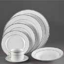 WHITE DOUBLE PLATINUM BAND DINNERWARE