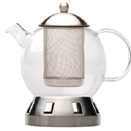 DORADO GLASS TEAPOT WITH MATE FINISH STAINLESS STEEL STAND, STRAINDER, & LID.