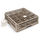 16 SQUARE COMPARTMENT CUP RACK WITH 3 EXTENDERS, BEIGE