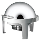 6 QT ROUND ROLL TOP CHAFER, STAINLESS STEEL