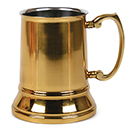 TANKARDS, BRASS HANDLE, 16 OZ., STAINLESS STEEL