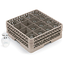16 SQUARE COMPARTMENT BASE RACK WITH 2 EXTENDERS, BEIGE