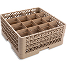 16 SQUARE COMPARTMENT BASE RACK WITH 3 EXTENDERS, BEIGE
