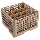 16 SQUARE COMPARTMENT BASE RACK WITH 5 EXTENDERS, BEIGE