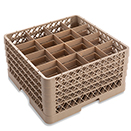 16 SQUARE COMPARTMENT BASE RACK WITH 4 EXTENDERS, BEIGE
