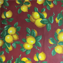 FLANNEL BACK TABLECLOTH, MAROON LEMONS, 54