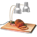 FLEXIGLOW™ DUAL ARM ALUMINUM HEAT LAMP, SILVER SHADE, BOARD & PAN, 24