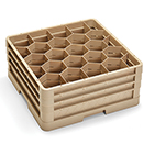 20 HEXAGON COMPARTMENT CLOSED WALL  RACK WITH 3 EXTENDERS, BEIGE