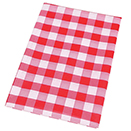 FINISHED PREPACKAGED TABLECLOTHS, CHECK RED