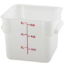 6 QT. SQUARE WHITE FOOD STORAGE CONTAINER.