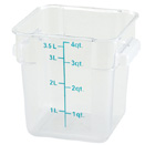 4 QT. SQUARE CLEAR POLYCARBONATE FOOD STORAGE CONTAINER