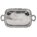 OBLONG TRAY WITH ORNATE BORDER, SILVERPLATE