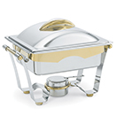 PANACEA™ HALF SIZE CHAFER, 24K GOLD ACCENTS, LIFT OFF LID, STAINLESS