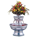 BEVERAGE FOUNTAIN WITH ROPE TRIM, SILVER ANODIZED ALUMINUM