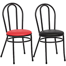 CHAIRS WITH METAL FRAME, BISTRO STYLE, COLORED PADS