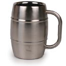 16 OZ. BARREL MUG, BRUSHED FINISH, INSULATED