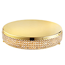 CAKE STAND WITH FAUX DIAMOND RIM, GOLDPLATED