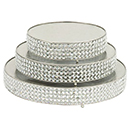 SET OF 3 ROUND CAKE STANDS, FAUX DIAMOND ACCENTS