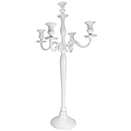 5 LIGHT CANDELABRA, WHITE POWDER COATED