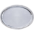 OVAL TRAY WITH ORNATE BORDER, EMBOSSED CENTER, CHROMEPLATE