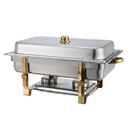 8 QT. OBLONG CHAFER W/GOLD ACCENTS