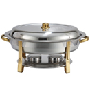 6 QT. OVAL CHAFER W/GOLD ACCENTS