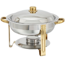 4 QT. ROUND CHAFER W/GOLD ACCENTS