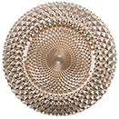 GLASS CHARGER PLATE, KENTON MIRRORED DESIGN, ROSE GOLD, SET/4